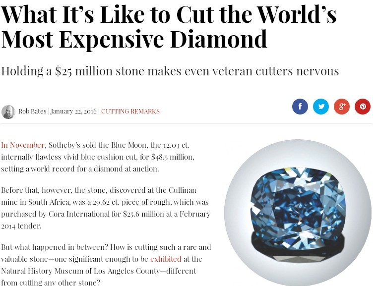 "My interview on JCK magazine : ""What It's Like to Cut the World's Most Expensive Diamond"""